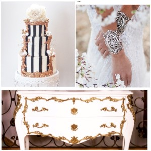 White and Gold with Black and White Candy stripe Cake